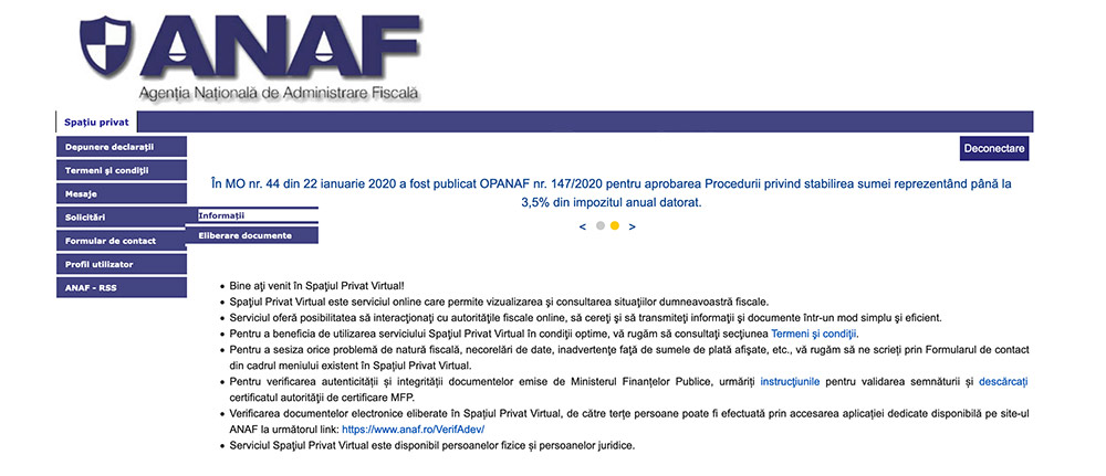 solicitări Spațiul Privat Virtual de la ANAF